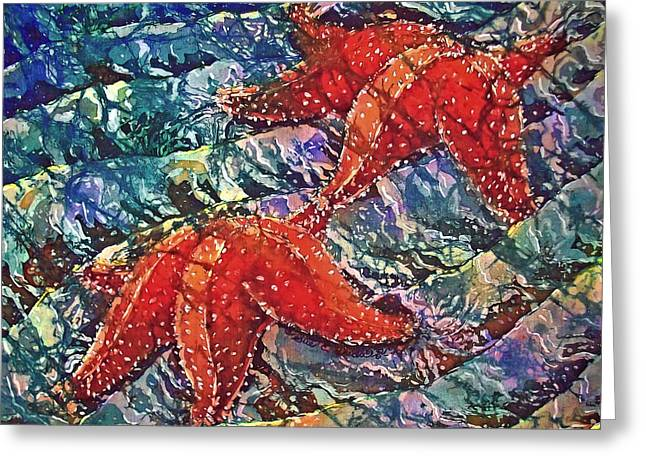 Stars Tapestries - Textiles Greeting Cards - Starfish 2 Greeting Card by Sue Duda