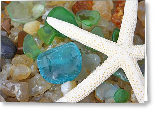 Starfish Art Prints Blue Green Seaglass Sea Glass Agates Greeting Card by Baslee Troutman Art Prints