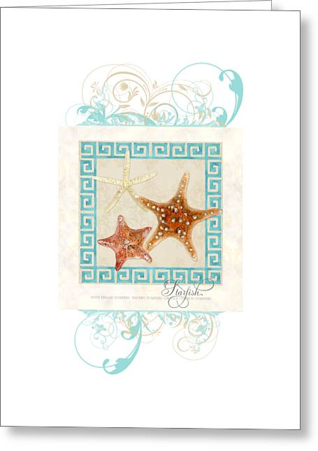 Painted Image Greeting Cards - Starfish Greek Key Pattern w Swirls Greeting Card by Audrey Jeanne Roberts