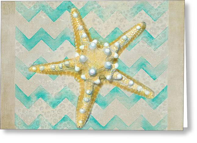 Sandi Oreilly Greeting Cards - Starfish In Modern Waves Greeting Card by Sandi OReilly