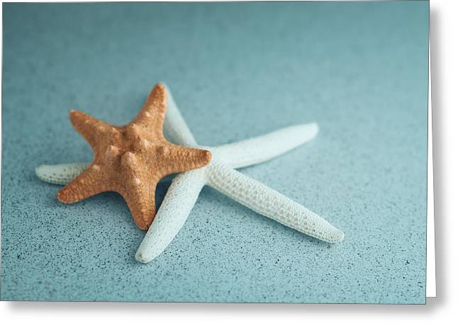 Starfish On Aqua Greeting Card by Tom Mc Nemar