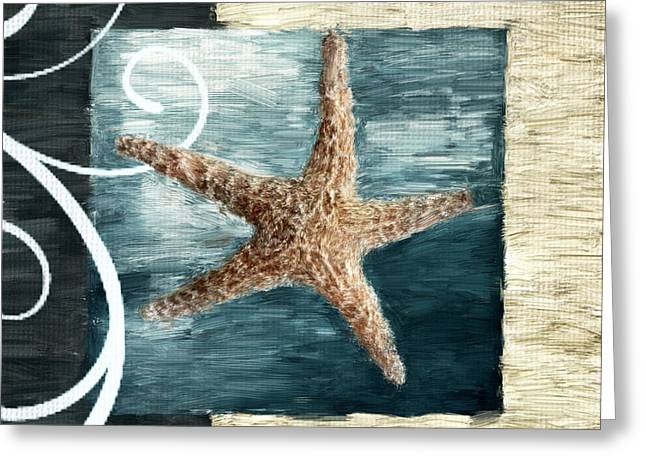 Shell Pattern Greeting Cards - Starfish Spell Greeting Card by Lourry Legarde