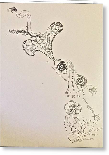 Morphing Mixed Media Greeting Cards - Starfishcalavera dragon Greeting Card by Samuel Burgos-Garcia