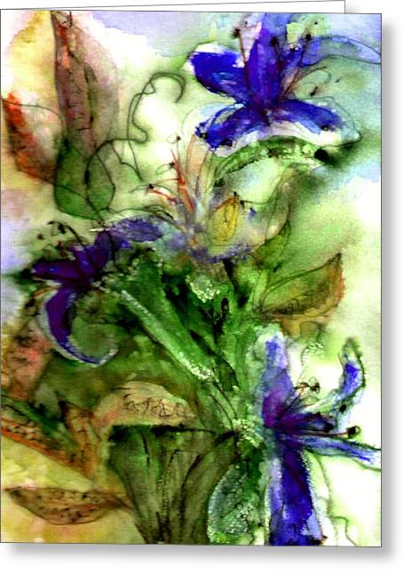 Violet Blue Greeting Cards - Starflower Greeting Card by Anne Duke