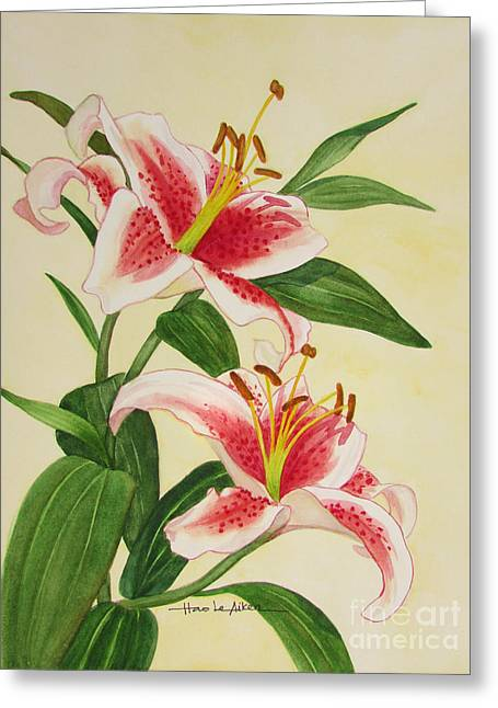 Nature Greeting Cards - Stargazer Lilies Greeting Card by Hao Aiken