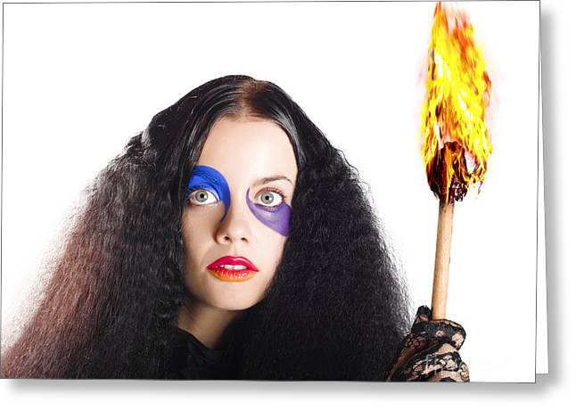 Mystifying Greeting Cards - Staring woman holding flame torch Greeting Card by Ryan Jorgensen