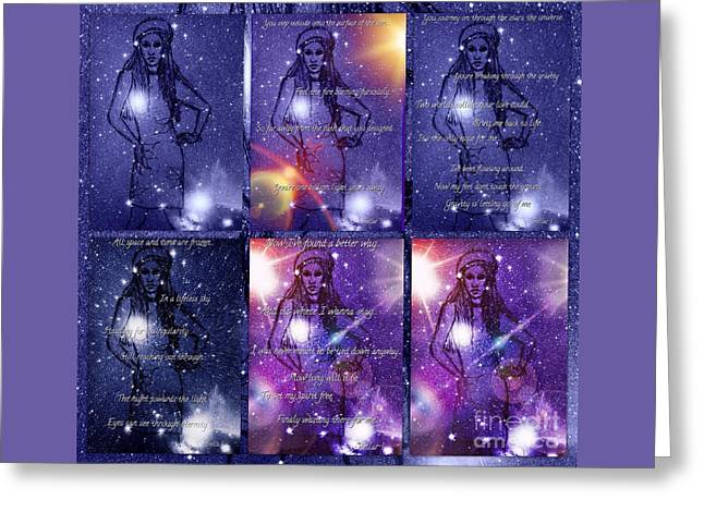 Music Time Drawings Greeting Cards - Starlight of Space and Time Collage Greeting Card by Joan-Violet Stretch