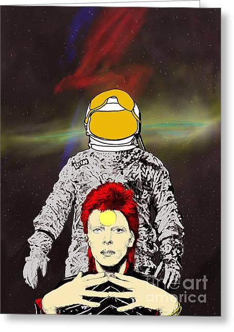 Starman Bowie Greeting Card by Jason Tricktop Matthews
