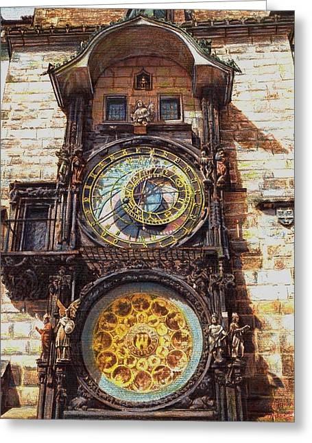 Prague Pastels Greeting Cards - Staromestsky orloj Greeting Card by Gordana Dokic Segedin