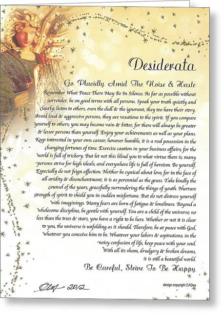 Guardian Angel Greeting Cards - Starry Guardian Angel DESIDERATA Greeting Card by Desiderata Gallery