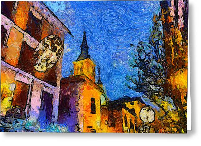 Van Gogh Style Greeting Cards - Starry Madrid Tribute To Vincent Greeting Card by Alan Armstrong