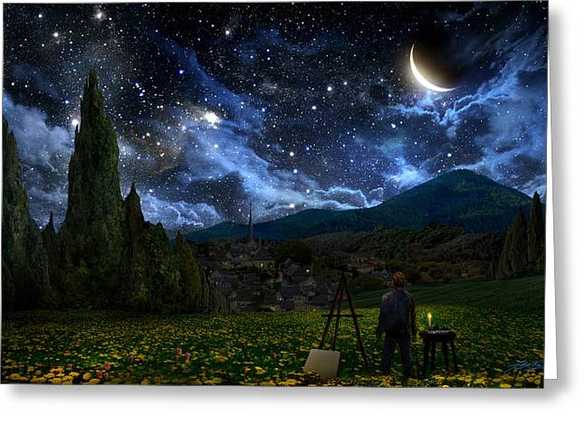 Scene Greeting Cards - Starry Night Greeting Card by Alex Ruiz