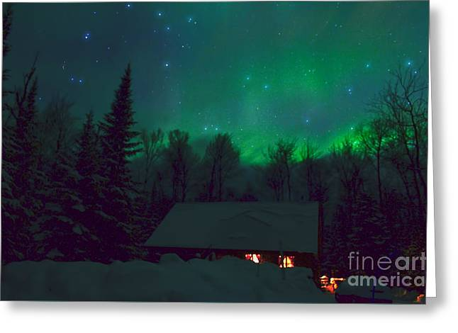 Log Cabins Greeting Cards - Starry Night Greeting Card by Boreal Visions