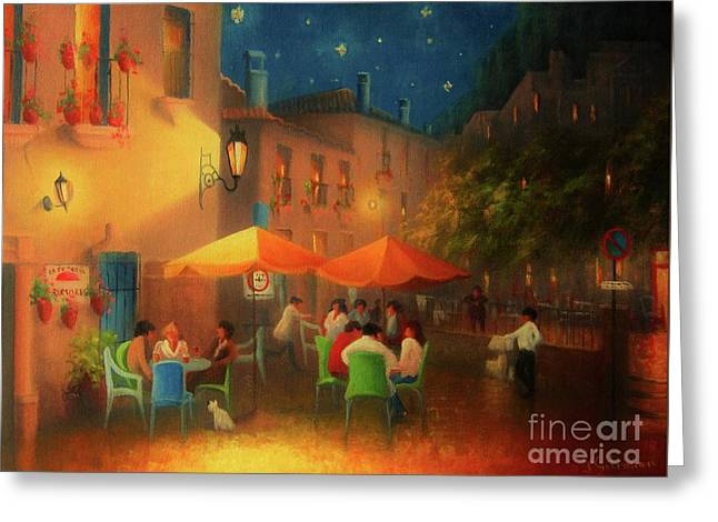 Starry Night Cafe Society Greeting Card by Joe Gilronan