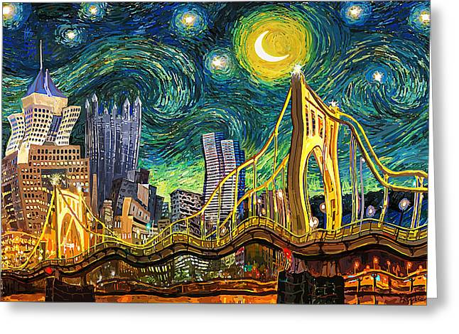 Starry Night In Pittsburgh Greeting Card by Frank Harris