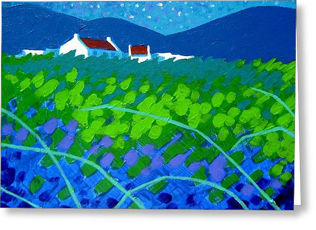 Acrylic Art Paintings Greeting Cards - Starry Night In Wicklow Greeting Card by John  Nolan