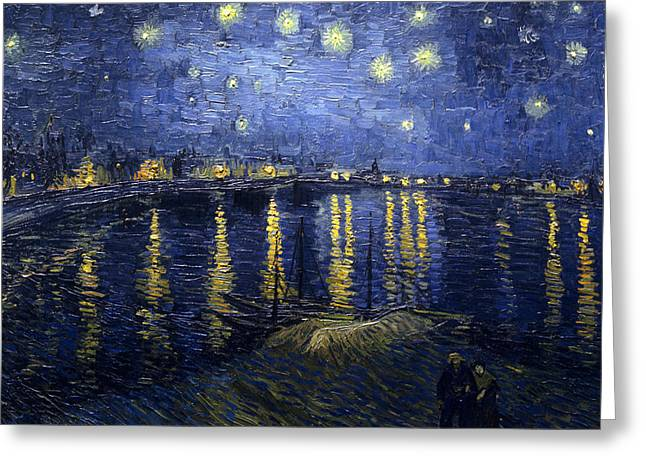 Reflections In River Greeting Cards - Starry Night Over The Rhone Greeting Card by Vincent Van Gogh