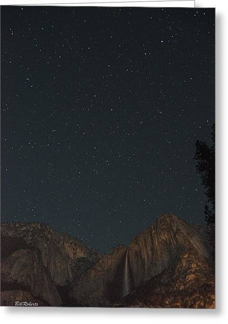 Starry Night Over Yosemite Falls Greeting Card by Bill Roberts