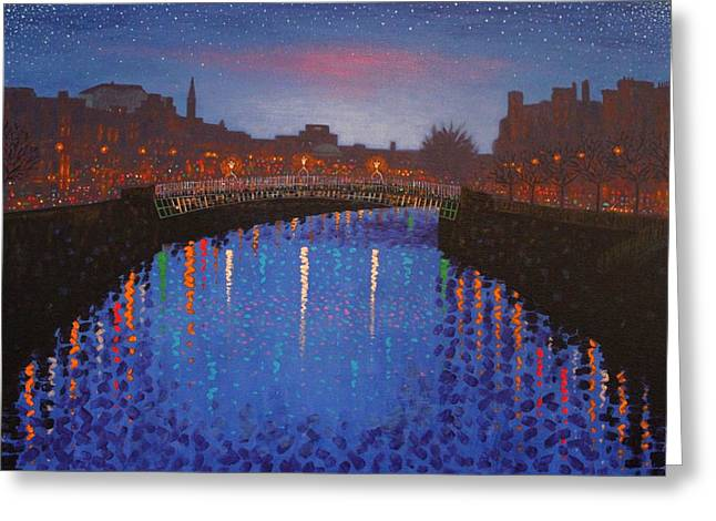 Bridge Greeting Cards Greeting Cards - Starry Nights In Dublin Ha Penny Bridge Greeting Card by John  Nolan