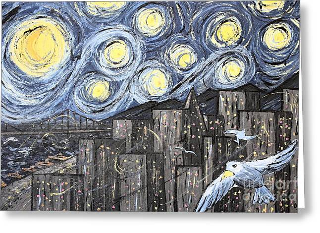 Starry Nights In San Francisco 1985 Greeting Card by Wingsdomain Art and Photography