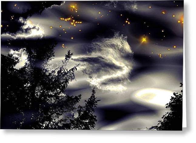 Nature Abstracts Greeting Cards - Starry Silhouette Sky Greeting Card by Stephen  Killeen