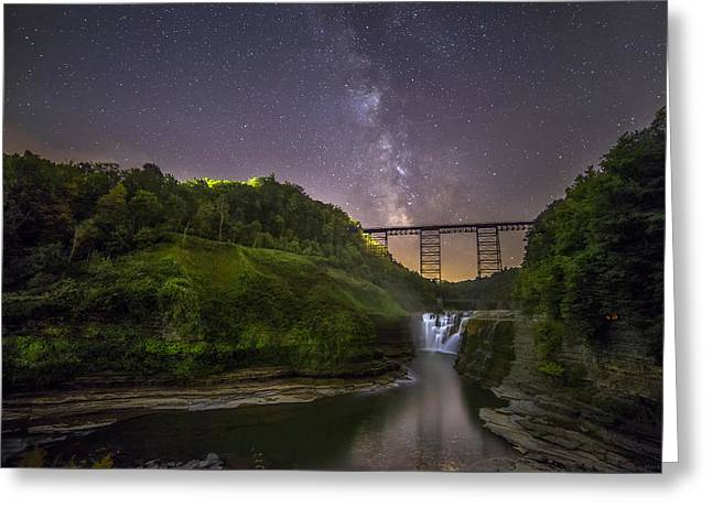 Starry Sky At Letchworth Greeting Card by Mark Papke