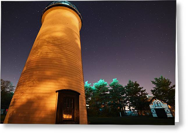 Starry Sky Over The Newburyport Harbor Light Closeup Greeting Card by Toby McGuire