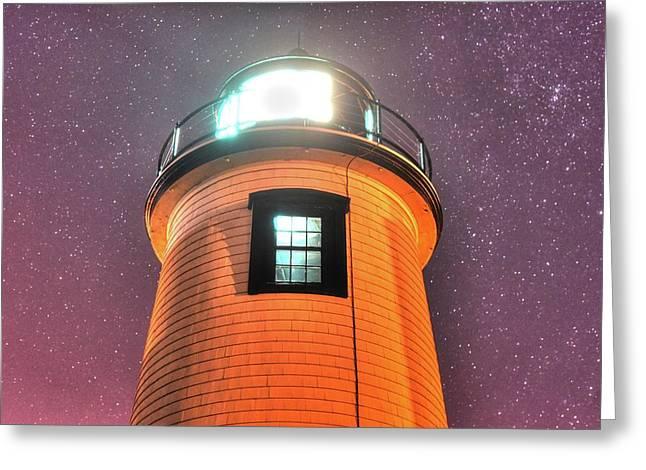 Starry Sky Over The Newburyport Harbor Light Window 2 Greeting Card by Toby McGuire