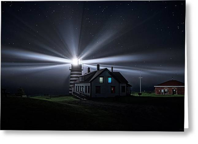 Coastal Maine Greeting Cards - Stars and Light Beams - West Quoddy Head Lighthouse Greeting Card by Marty Saccone