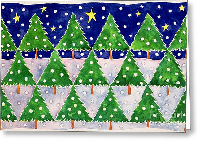 Stars And Snow Greeting Card by Cathy Baxter