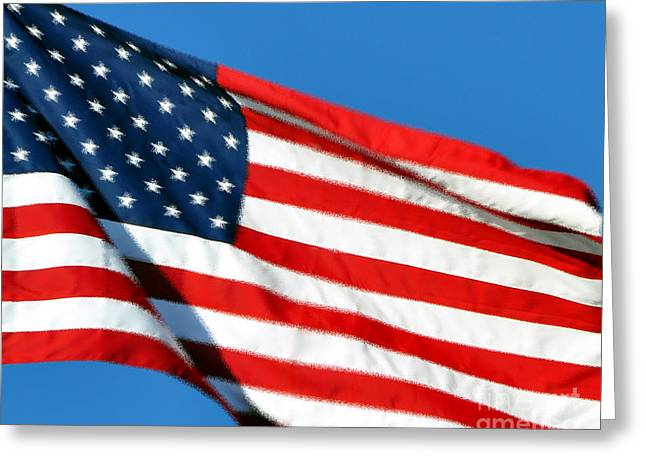 Red White And Blue Digital Greeting Cards - Stars and Stripes Greeting Card by Al Powell Photography USA