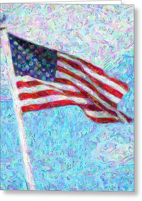 Red White And Blue Mixed Media Greeting Cards - Stars and Stripes Greeting Card by Colleen Kammerer