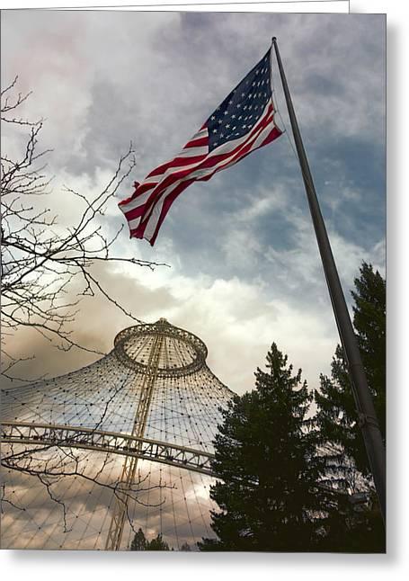 Spokane Greeting Cards - STARS and STRIPES FLYING over R F P PAVILION - SPOKANE Greeting Card by Daniel Hagerman
