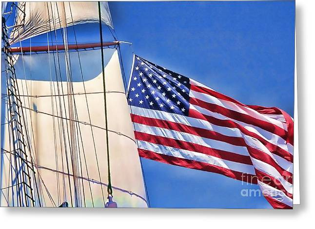 Tall Ships Greeting Cards - Stars and Stripes Greeting Card by Philippe Gadeyne
