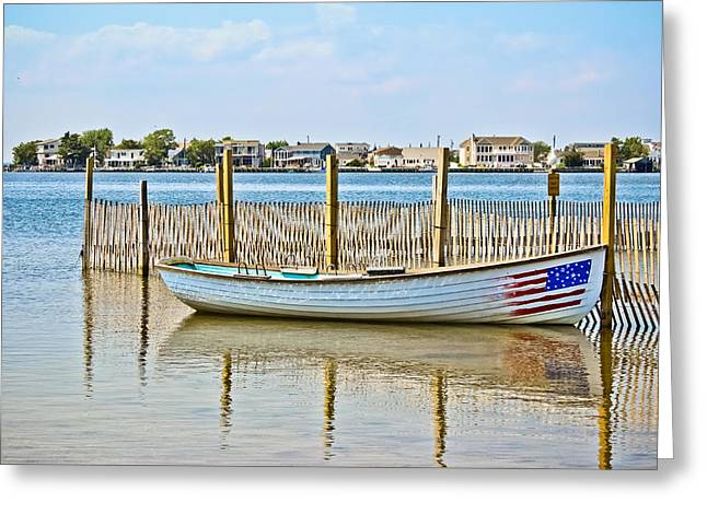 Beach Photography Greeting Cards - Stars and Stripes Rowboat Greeting Card by Colleen Kammerer
