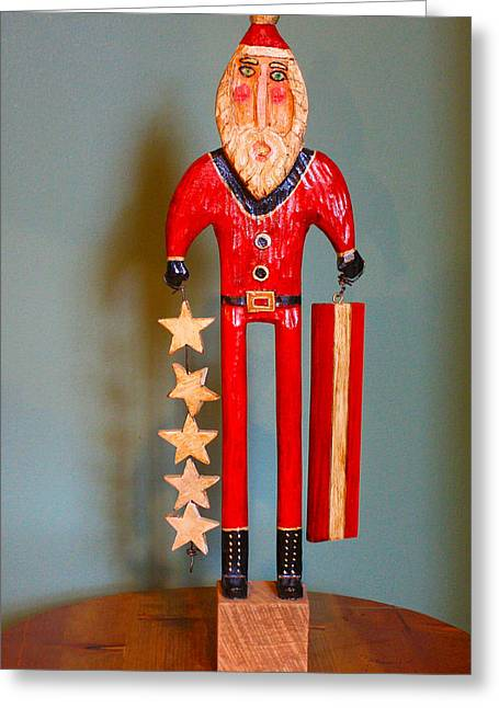 Star Sculptures Greeting Cards - Stars and Stripes Santa Greeting Card by James Neill