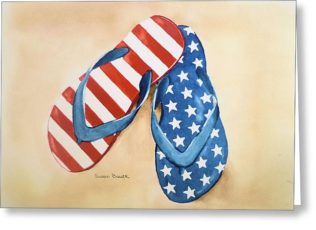 4th July Paintings Greeting Cards - Stars and Stripes Greeting Card by Susan Bauer