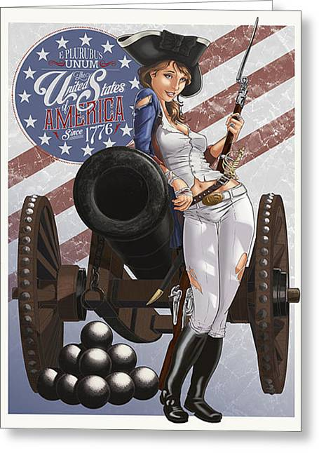 Recently Sold -  - 4th July Drawings Greeting Cards - Stars and Stripes Greeting Card by Tristan Thompson