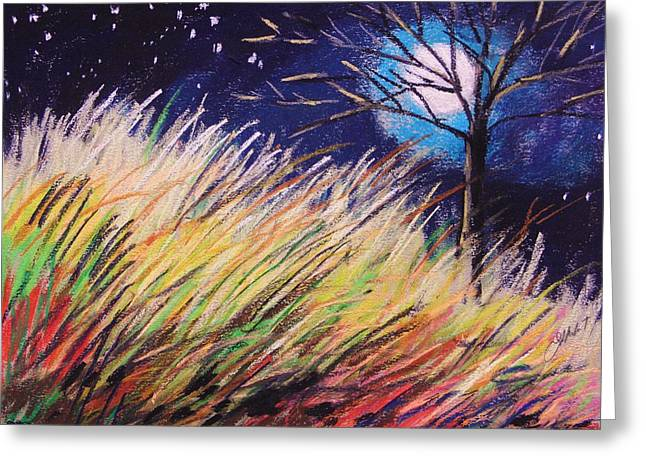 Dark Skies Pastels Greeting Cards - Stars Over Grasses Greeting Card by John  Williams