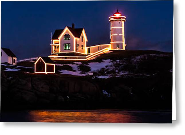 Cape Neddick Greeting Cards - Stars over Nubble Lighthouse in Maine Greeting Card by Jeff Folger