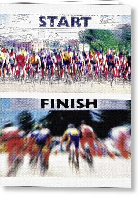 Digital Finished Mixed Media Greeting Cards - Start and Finish Lines Diptych Greeting Card by Steve Ohlsen