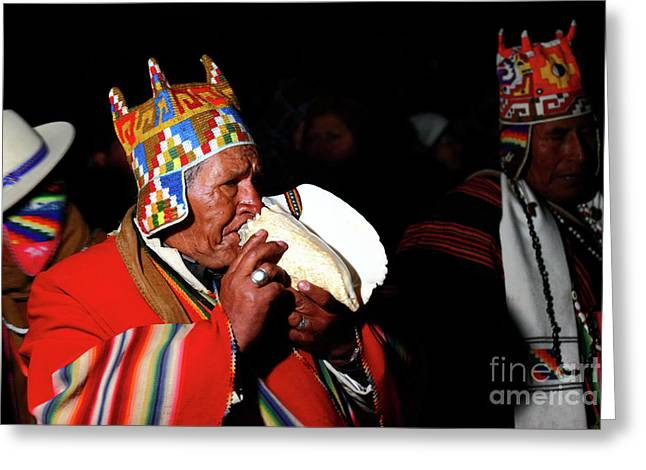 Start Of Aymara New Year Ceremonies Bolivia Greeting Card by James Brunker