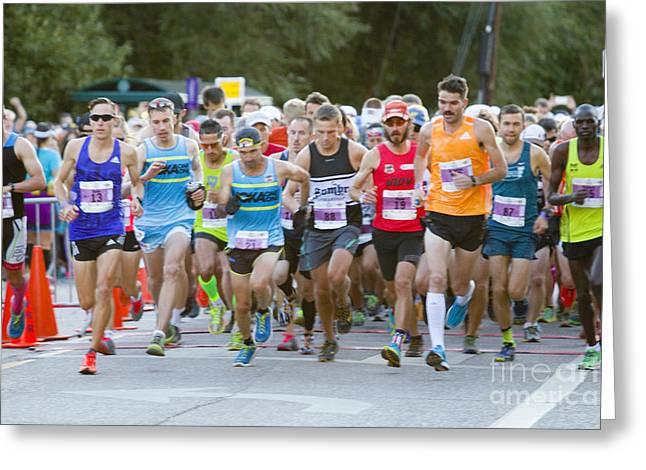 Footrace Greeting Cards - Start of the Pikes Peak Marathon and Ascent Greeting Card by Steve Krull
