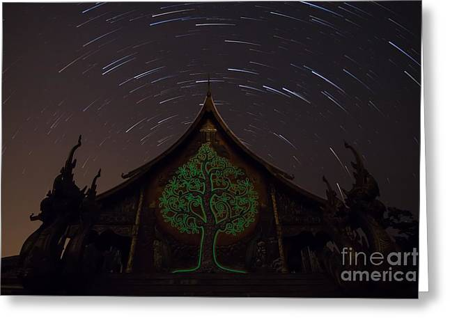Monk-religious Occupation Greeting Cards - Startrails Greeting Card by Tosporn Preede