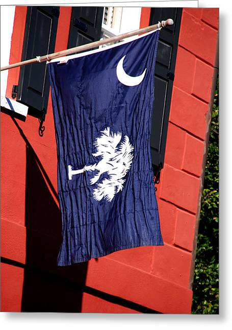 Palmetto Trees Greeting Cards - State Flag of South Carolina Greeting Card by Susanne Van Hulst