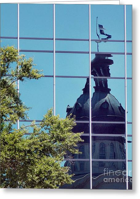 Covered Bridge Greeting Cards - State House In Reflection Greeting Card by Skip Willits