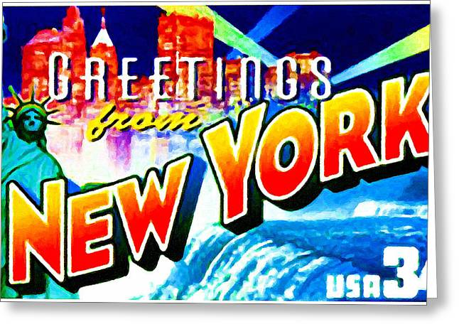 Democracy Paintings Greeting Cards - State of New York Greeting Card by Lanjee Chee