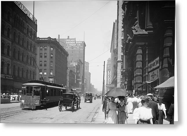 State Street 2 - Chicago 1900 Greeting Card by Daniel Hagerman