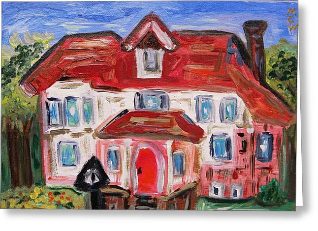 Inner Self Paintings Greeting Cards - Stately City House Greeting Card by Mary Carol Williams