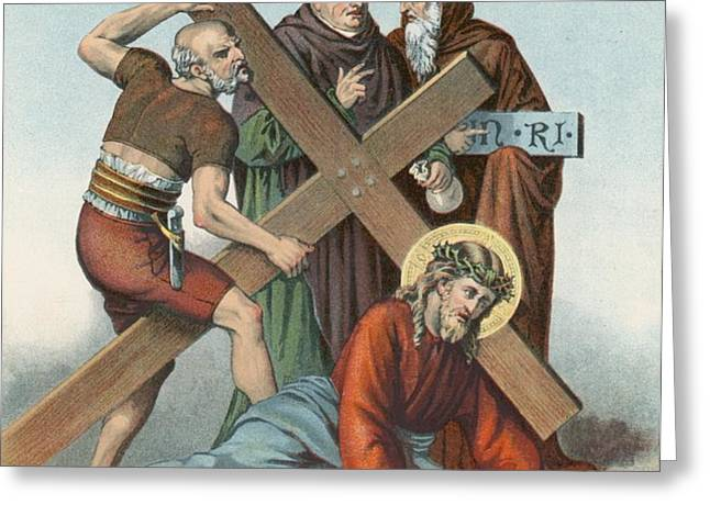 Station IX Jesus Falls under the Cross the Third Time Greeting Card by English School